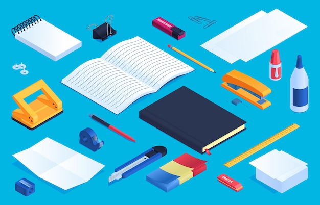 Office and school stationery elements set with glue sharpener and eraser  isometric isolated