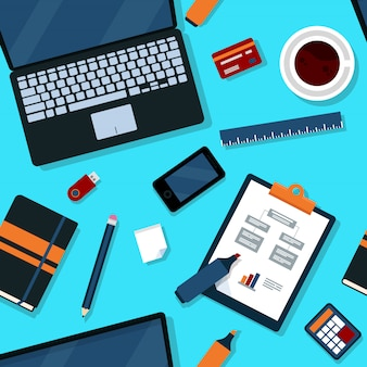 Office seamless pattern with office elements