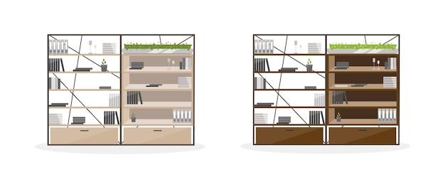 オフィスの棚のフラットカラーオブジェクトセット。オフィスキャビネット、ワードローブ。ドキュメントとフォルダのある棚。孤立した漫画