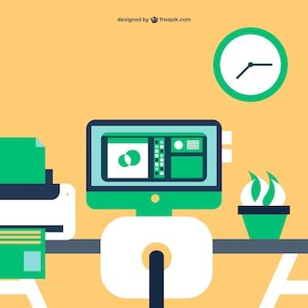 Office simple flat illustration
