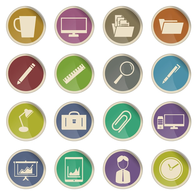 Office simply vector icon set