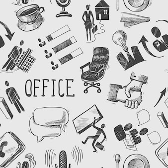 Office sketch seamless pattern