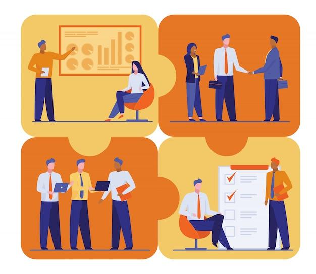 作業プロジェクトの計画と議論を行うオフィススタッフ