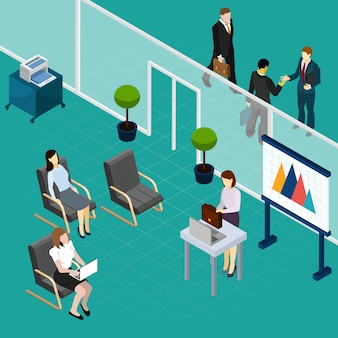 Office staff training isometric composition with lecturer and waiting workers interior elements vector illustration