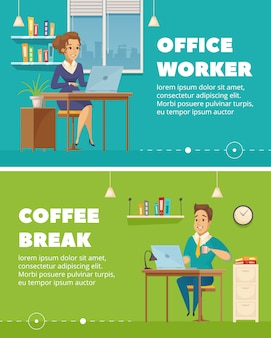 Office staff worker coffee break 2 horizontal retro banners set