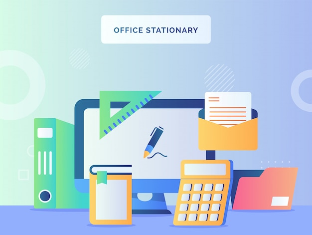 Office stationary concept monitor computer background of calculator book mail file folder ruler with flat style.
