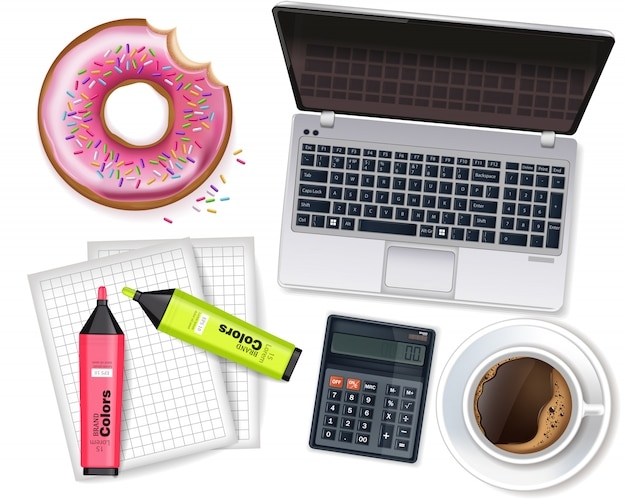 Office stationary supplies mock up collection