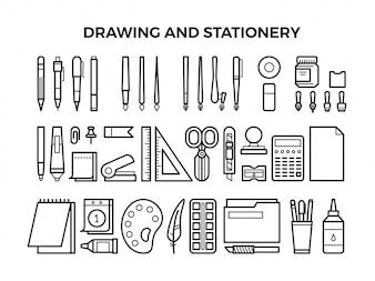 Office stationery and drawing tools line icons
