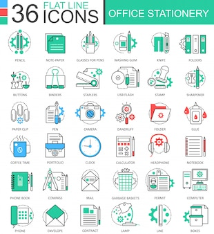 Office stationery color flat line icons