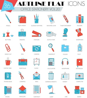 Office stationery flat line icons set