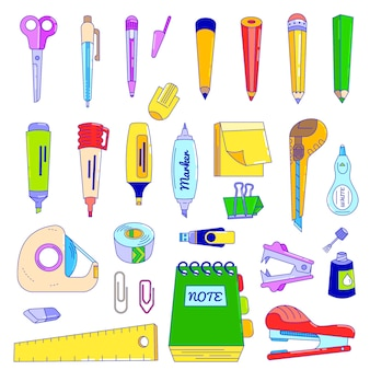 Office stationery line business assortment accessories  stationer illustration isolated  . stationery tools.