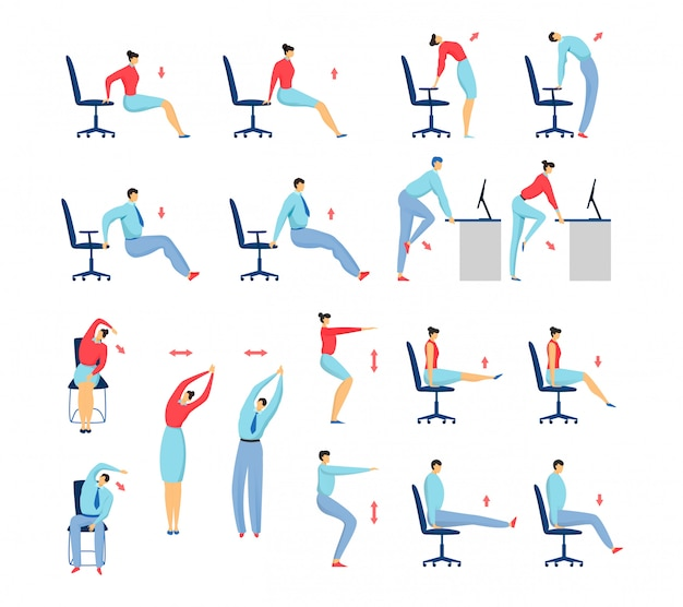 Протягивать офиса работает людей установленных изолированных иллюстрации, бизнесмена и женщины на разминке стула и фитнеса.