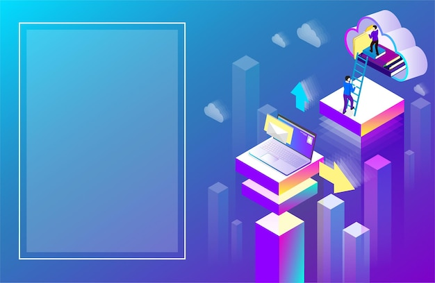 Office or student background laptop used cloud storage purple spectrum isometric illustration landing page or presentation template