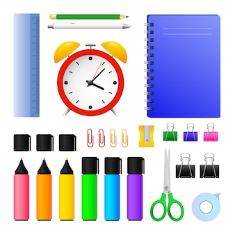 Office supplies and alarm clock