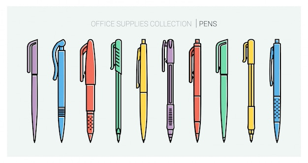 Office supplies collection. pens set. writing tools. outline style. ballpoint thin line vector icons. back to school. writing materials stationery collection.