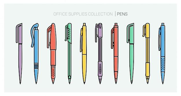 事務用品コレクション。ペンセット。筆記具。アウトラインのスタイル。ボールペンの細い線のベクトルのアイコン。学校に戻る。文房具コレクション。
