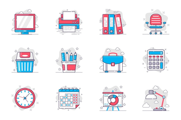 Office supplies concept flat line icons set management and workplace organization for mobile app