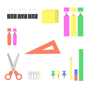 Office supplies on the desktop, flat style isolated.