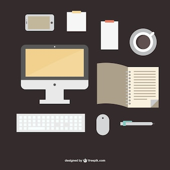 Forniture per ufficio illustrazione piatta