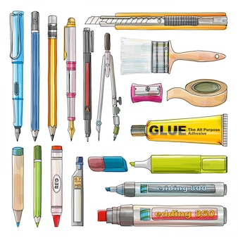 Office supplies isolate, stationery drawing set, water coluor style, illustration