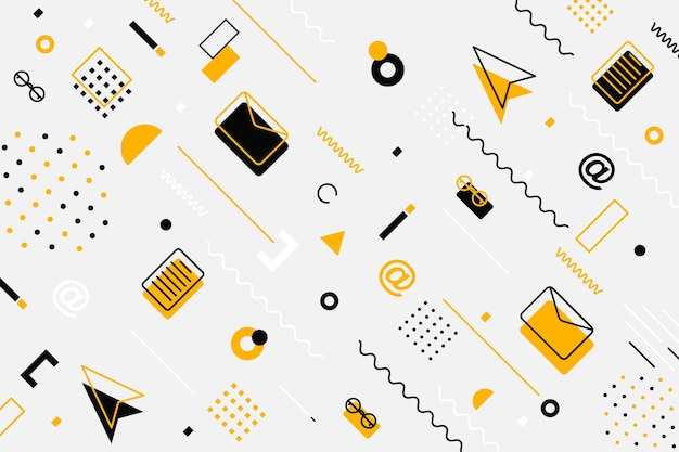 Канцелярские товары бесшовные модели. набор текстур плитки с тонкой линией черно-белых иконок.