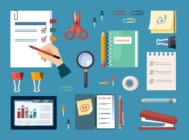 Office supplies with business calculations set. documents and tools for office work notebook magnifying glass and stapler paper clips sheets with scissors and pencil. vector flat infographics.