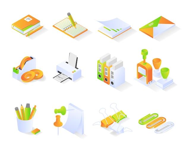 아이소메트릭 스타일 번들 또는 현대적인 프리미엄 벡터 세트가 있는 사무용품 아이콘