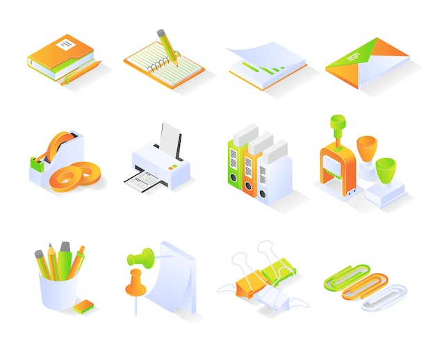 Office supply icon with isometric style bundle or sets premium vector modern