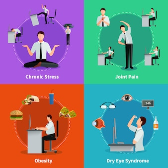 Office syndrome 2x2 flat concept set of diseases as results of sedentary work