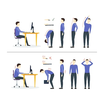 Офисный синдром правильных или неправильных положений для упражнений в гимнастике