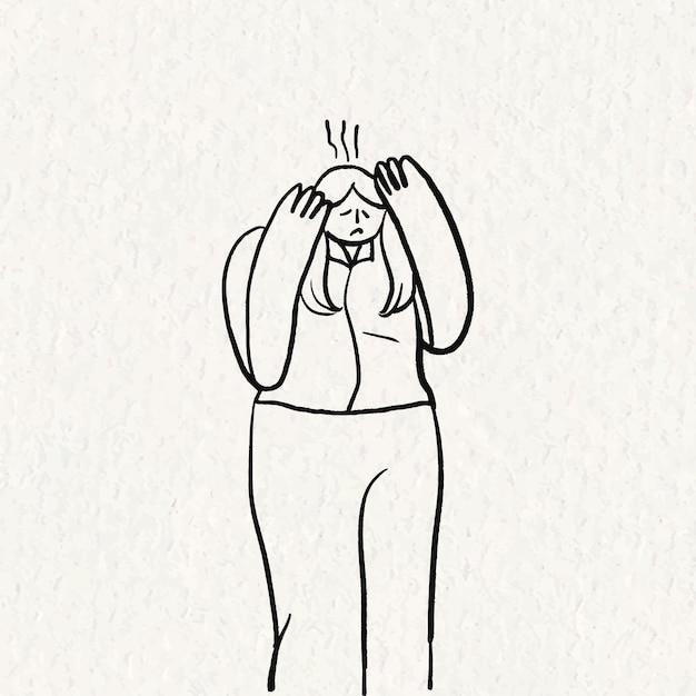 Vettore di doodle di sindrome di office, carattere disegnato a mano di mal di testa