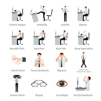 Office syndrome flat character set with employees at desk and  inscriptions about negative impact of sitting work isolated vector illustration