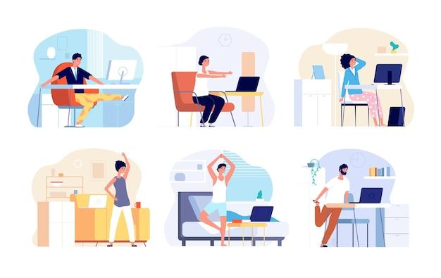 사무실 증후군. 스트레칭 운동, 목 뒤 어깨 스트레칭. 집에서 앉아서 일하는 프리랜서 벡터 일러스트레이션을 위한 피트니스 운동. 오피스 바디 증후군, 건강을 위한 비즈니스 스트레칭