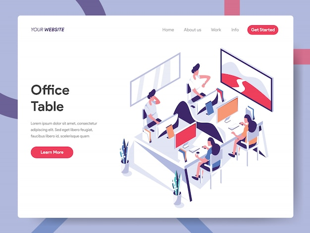 Office table banner for website page