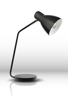 黒いランプを勉強してオフィステーブル。白い背景のイラスト。