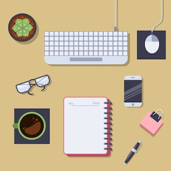 Office table top view. vector flat illustration.