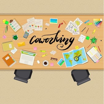 Office table with business stuff, top view. concept of coworking or startup. business concept. flat design, vector illustration