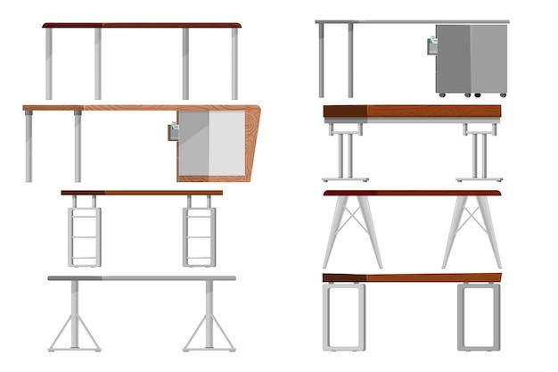 Office tables set, cartoon style.