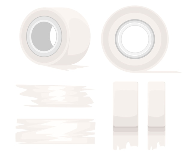 Office 도구 및 물건. 접착 테이프 롤. 흰색 스카치 테이프와 접착 테이프 조각. 흰색 배경에 그림