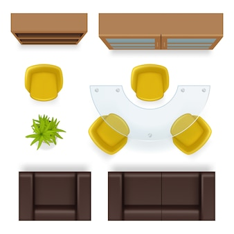 Office top view. furniture realistic tables wardrobe chairs armchairs business office interior items vector. illustration office empty, realistic armchair and furniture
