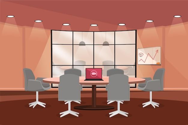 オフィスのビデオ会議の背景とグラフィック