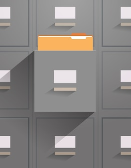 Office wall of filing cabinet with open card catalog document data archive storage folders for files business administration concept vertical vector illustration