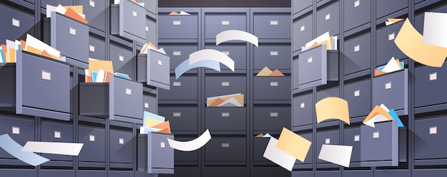 Office wall of filing cabinet with open card catalog and flying documents data archive storage business administration concept horizontal vector illustration
