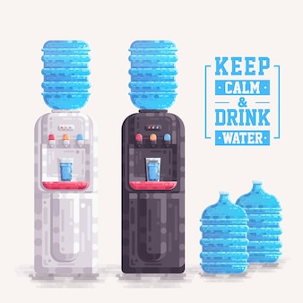 Office water cooler dispenser with plastic container bottle vector