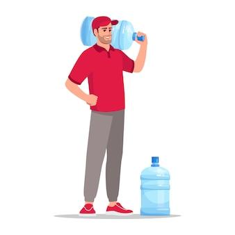 Офисное водоснабжение доставки полу плоской цветовой векторной иллюстрации rgb. жидкость в многоразовых флаконах в офис. кавказский мужчина-курьер в красной форме изолировал мультипликационный персонаж на белом фоне