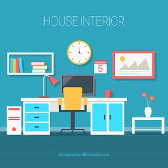 Office with decorative objects in flat design