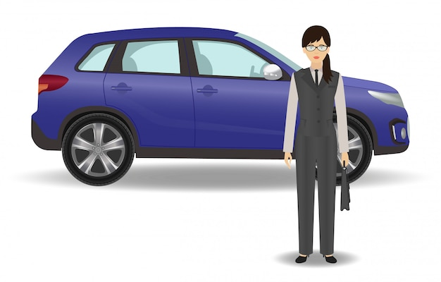 Office woman employee with auto on white