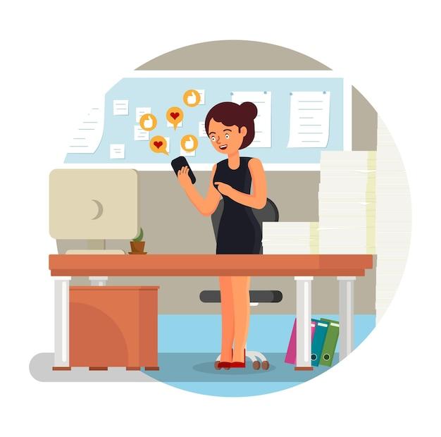 사무실 여자 점점 마음과 좋아하는 승인 소셜 미디어 표지판 평면