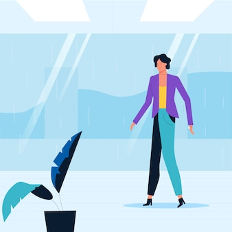 Office woman is walking along the corridor. the employee moves around the building. vector illustration