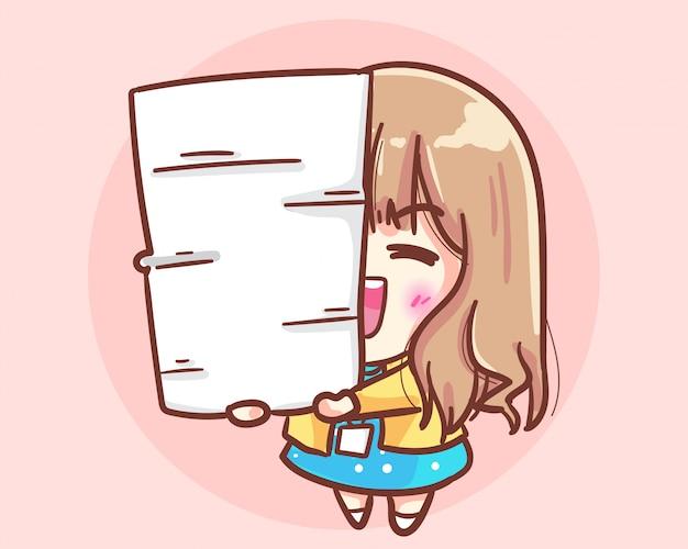 Девушка офиса yong держа кучу бумаг. офис милая девушка мультфильм иллюстрация